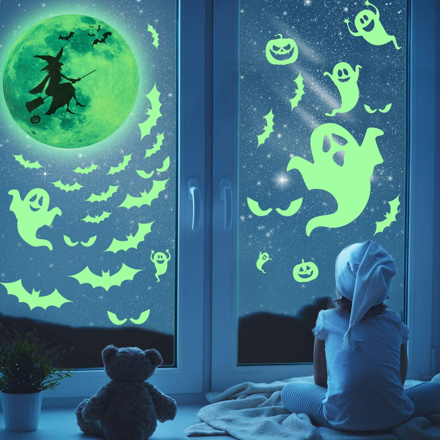 53 Pieces Halloween Glow Stickers Glow Wall Decorations 5 Sheets Luminous Halloween Stickers for Wall Door Windows Decoration
