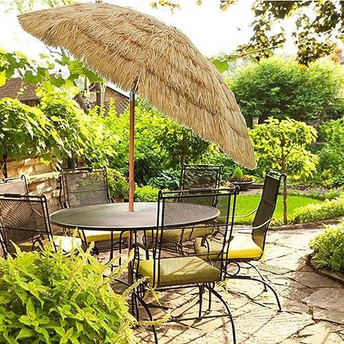 PIEDLE Thatch Patio Tiki Umbrella