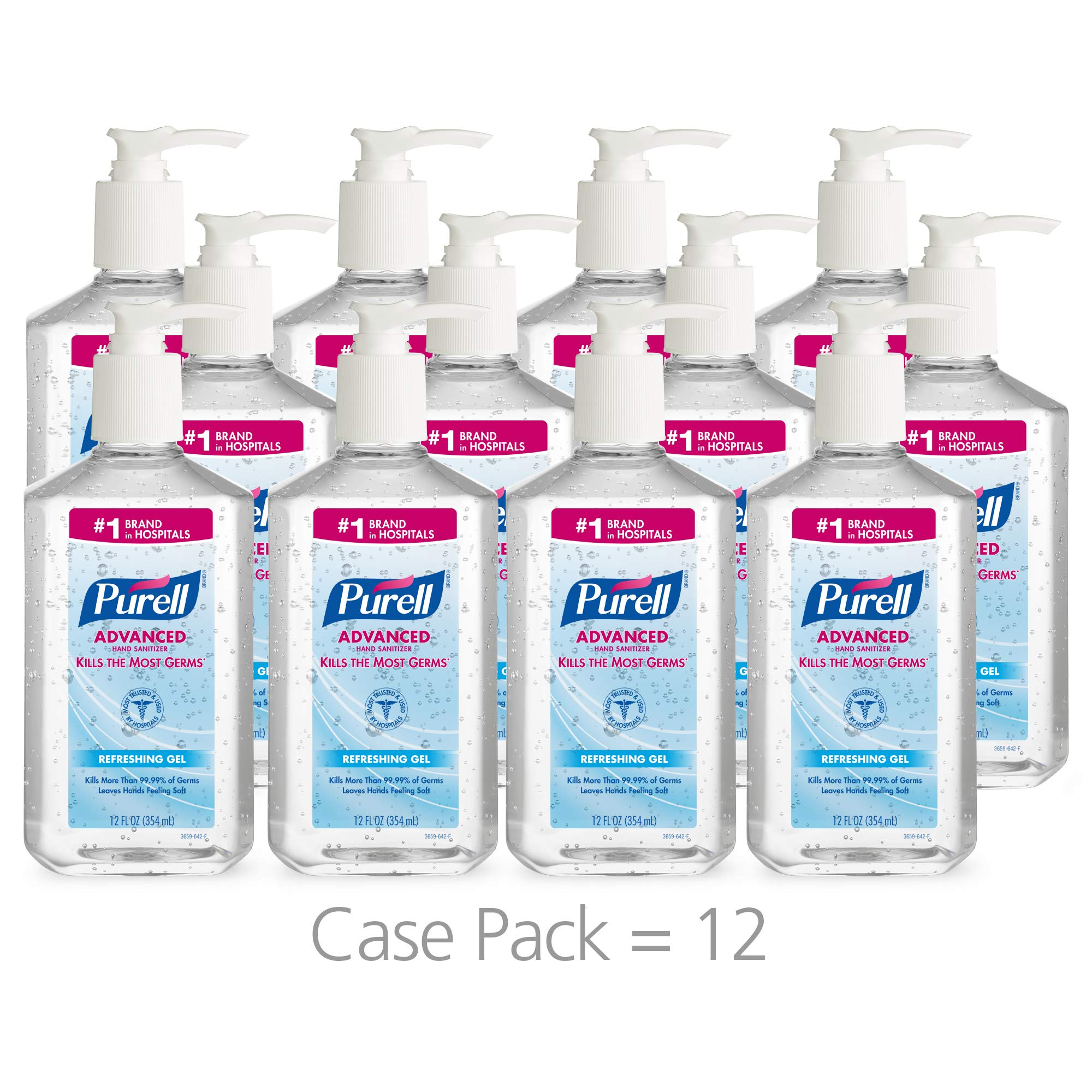 PURELL Advanced Hand Sanitizer, Refreshing Gel, 12 fl oz Sanitizer Table Top Pump Bottle (Case of 12) - 3659-12 by Purell