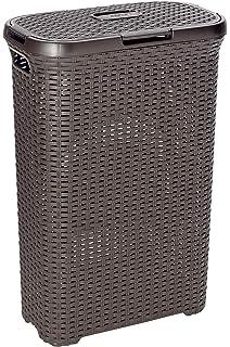 Curver 189206 - Cesta de ropa Natural Style, con tapa configurable, 60 L,