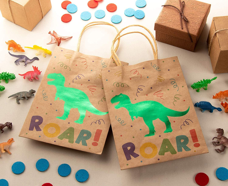 Juvale Dinosaur Gift Bags Carta Kraft Marrone Regali 8.7 x 6.3 x 3.1 Pollici bomboniere 24 Pack Kids Treat Bags con Manici Carta Goodie Bags per Vendita al Dettaglio