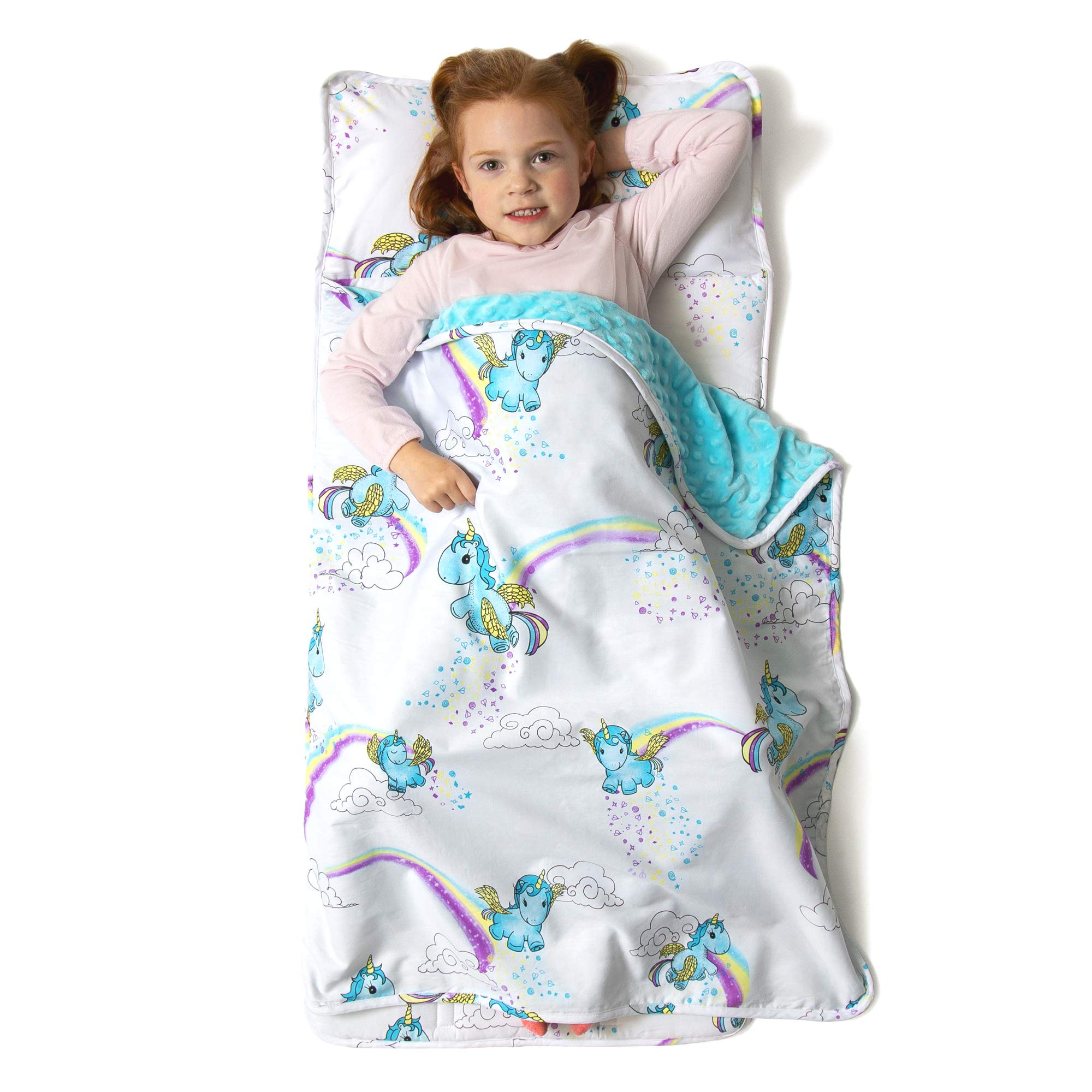 JumpOff Jo Toddler Nap Mat, Sleeping Bag for Preschool and Daycare, Unicorns, 43 x 21 Inches