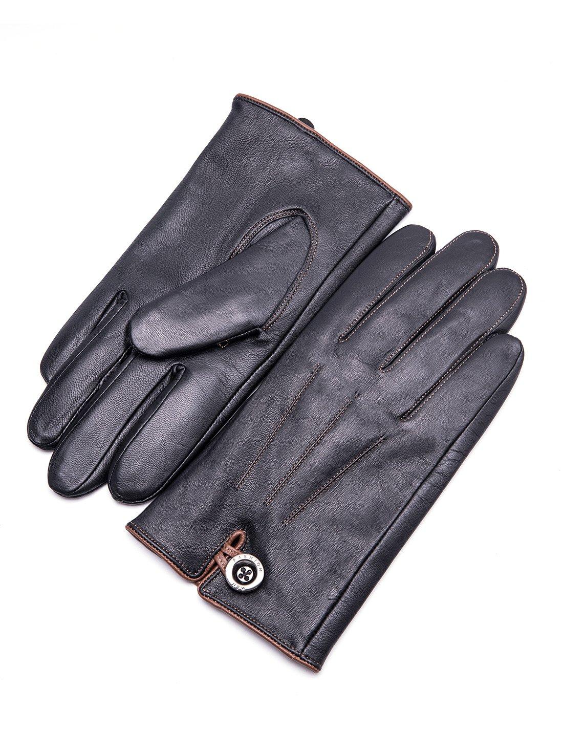 YISEVEN Men's Genuine Goat Skin Leather Winter Warm Lined Gloves /Touchscreen,Black,9.5''