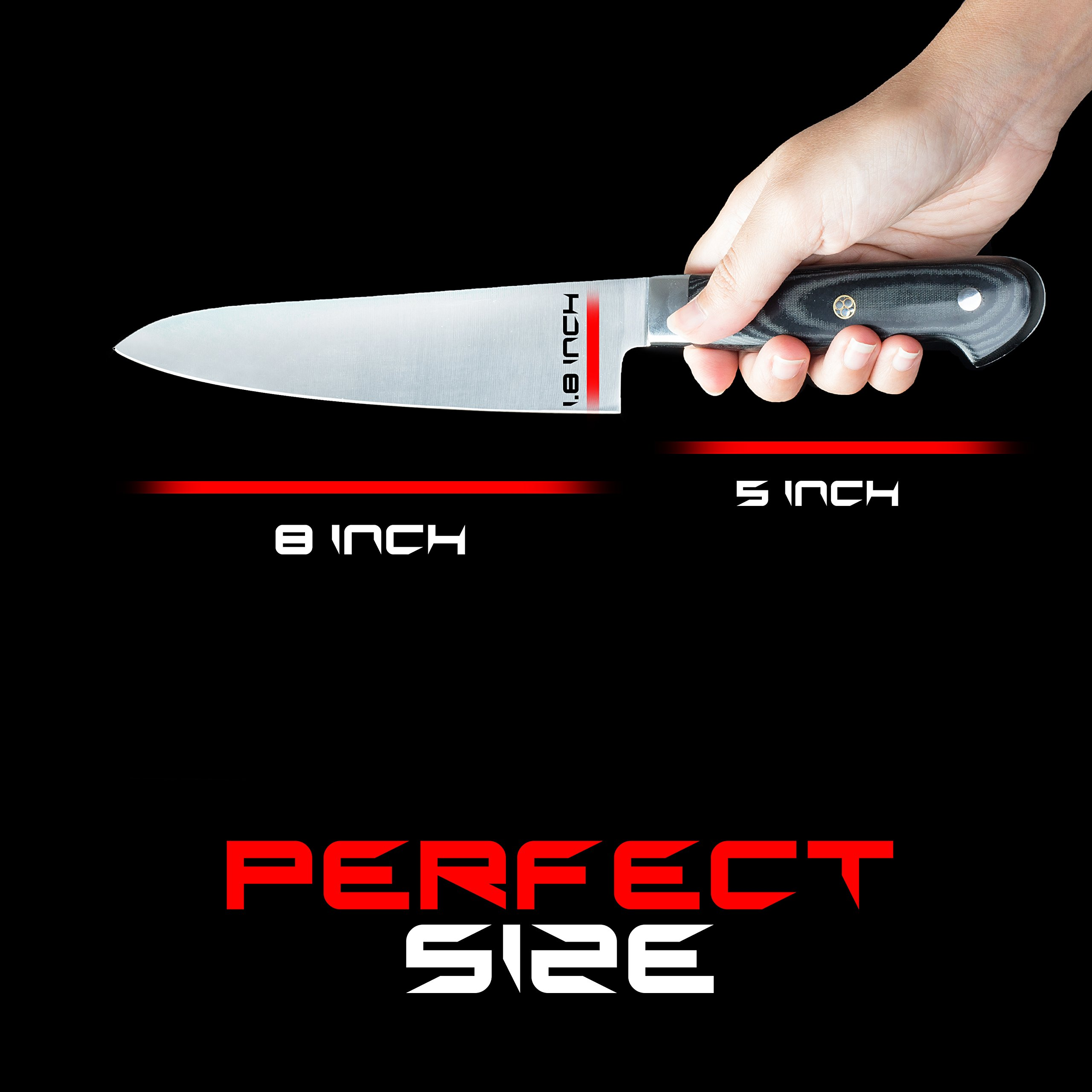 RIGSTYLE German Chef Knife 8 inch, High Carbon Stainless Steel, Sharp Blade with Ergonomic Handle for Professional Restaurants & Home Kitchens, Meat, Fish, Chicken & Vegetables Chopper, with Gift Box by RIGSTYLE (Image #2)