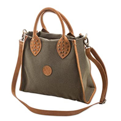 Novica Leather accent cotton shoulder bag, Brown Clay
