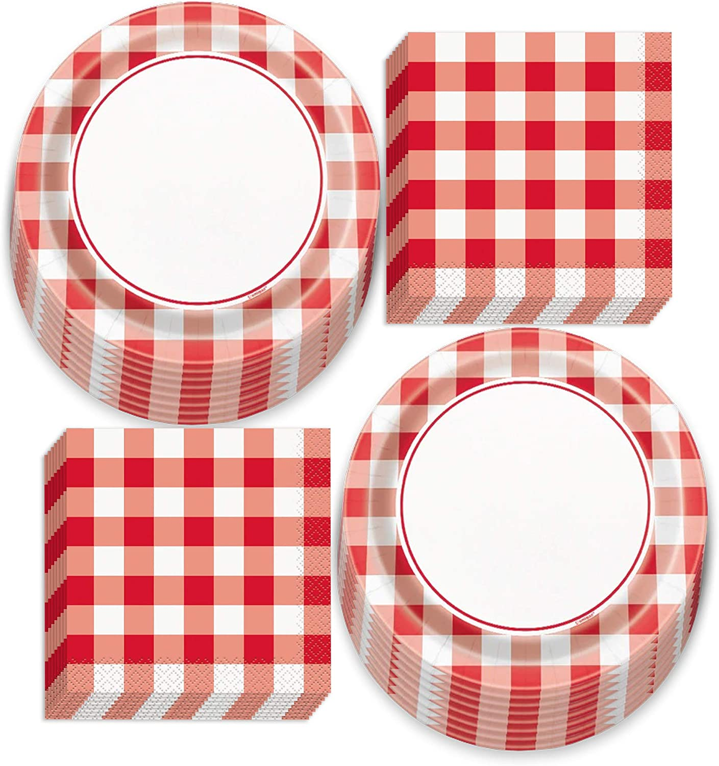 Red and White Checkered Gingham Picnic Party Paper Dessert Plates and Beverage Napkins (Serves 16)