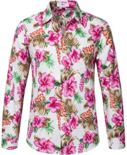 Generic Mens Casual Floral Printed Shirt Long Sleeve Button Down Shirts