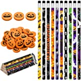 101 Pieces Halloween Pencils Colorful Wood Pencils with Pumpkin Jack-o-lantern Erasers for Halloween Party Favors, Trick…