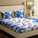Home Elite Dynamic 124 TC Cotton Double Bedsheet with 2 Pillow Covers - Floral, Multicolour