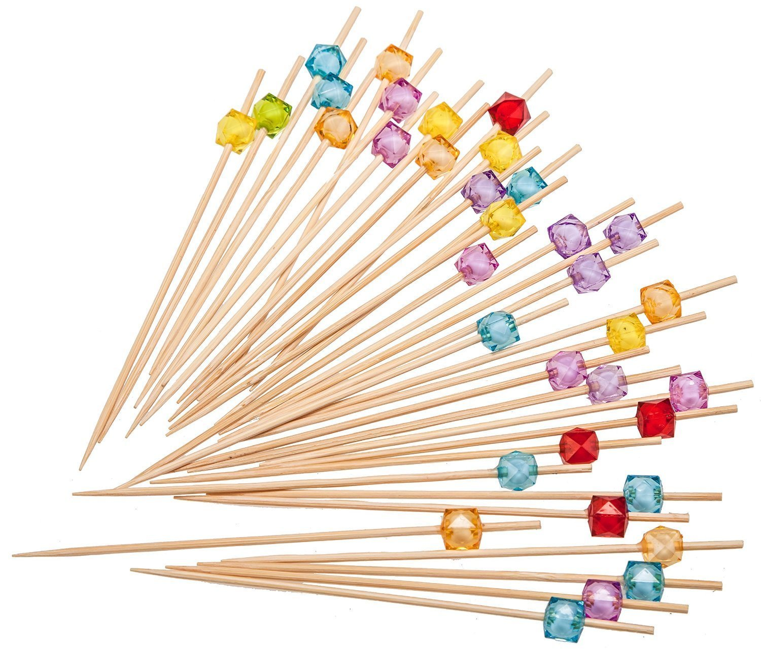 """Putwo Cocktail Picks Bamboo Handmade Appetizer Toothpicks 4.7/"""" 100ct Assorted Color in Rose Shape"""