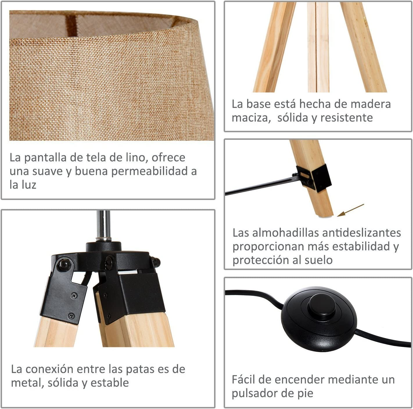 HOMCOM L/ámpara de Pie Moderna con Tr/ípode Altura Ajustable 65x65x99-143cm 40W E27 de Madera y Pantalla de Tela Lino