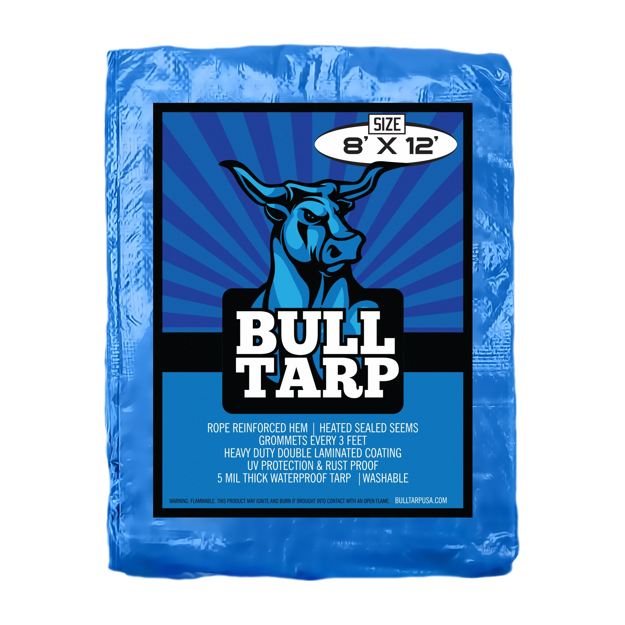 Blue Poly Tarp Cover 5 Mil Thick, Multi Purpose Waterproof Tarpaulin, UV Resistant, Reinforced Rip-Stop with Grommets Every 3 Feet. (8X12)