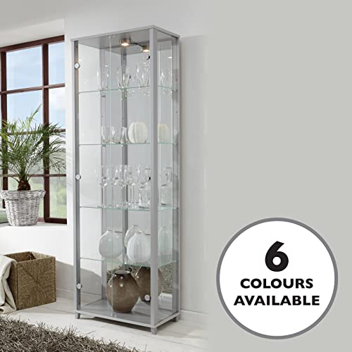 HOME Double Glass Display Cabinet Silver With 4 Moveable Glass Shelves,  Spotlight, Mirror Back