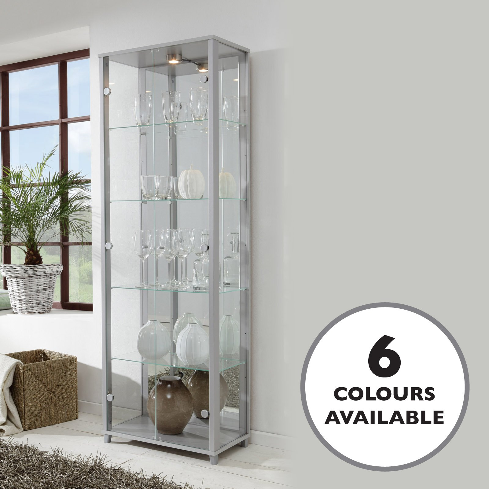 HOME Double Glass Display Cabinet Silver With 4 Moveable Shelves Spotlight Mirror Back