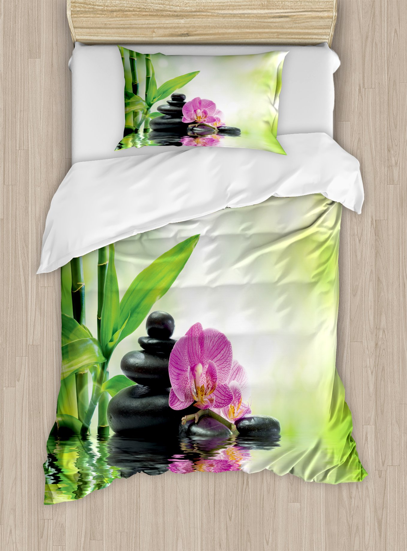 Ambesonne Spa Duvet Cover Set Twin Size, Orchids and Rocks in The Mineral Rich Spring Water Spiritual Deep Treatment Cure, Decorative 2 Piece Bedding Set with 1 Pillow Sham, Green Black Pink