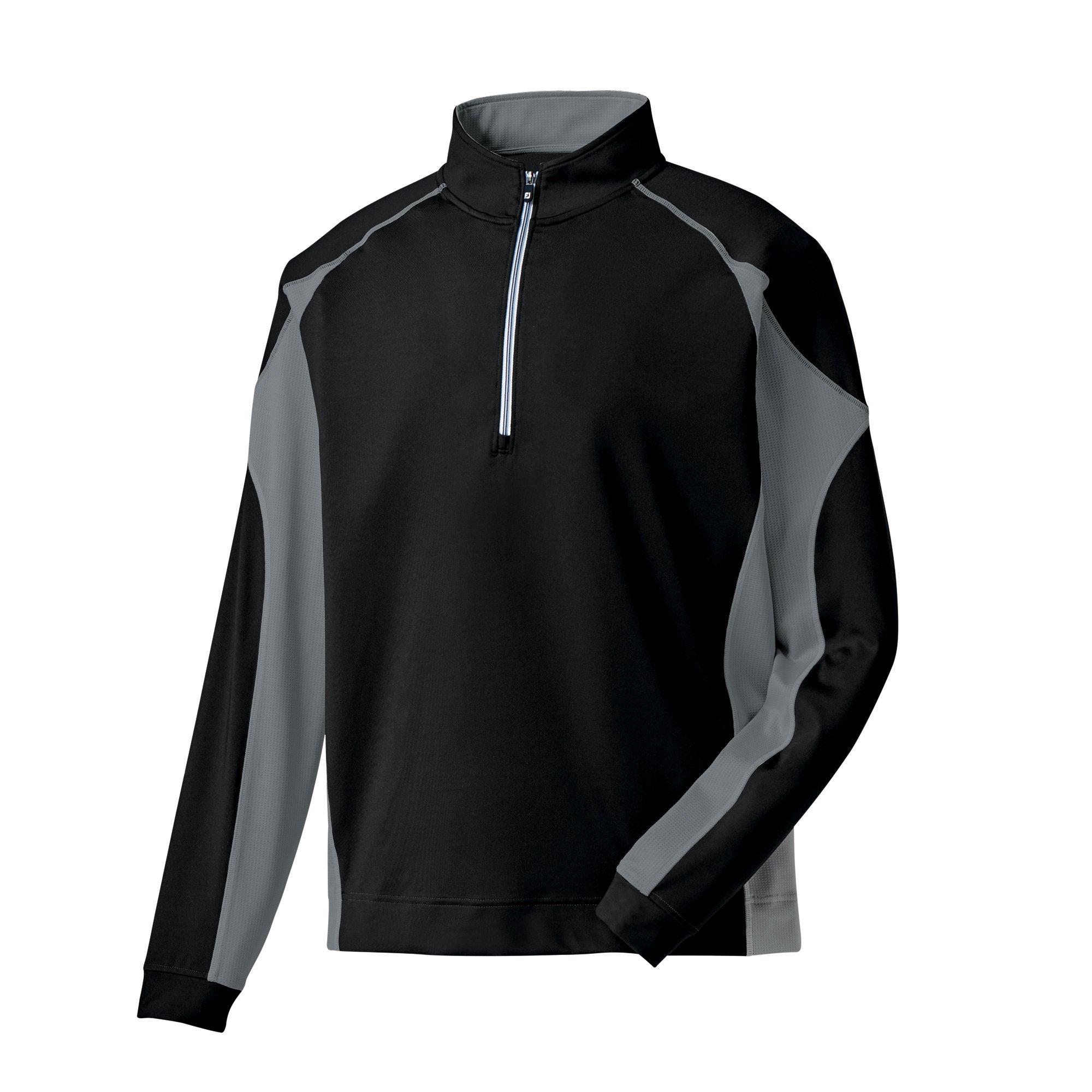 FootJoy Mixed Texture Sport Half-Zip Golf Pullover (Large, Black/Charcoal)