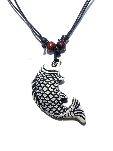 Koi fish pendant necklace asian jewelry style handmade necklace koi fish pendant necklace asian jewelry style handmade necklace adjustable black cord aloadofball Images