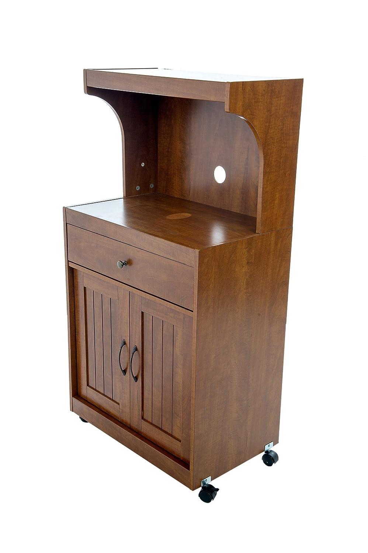Oak Microwave Cart Kitchen Storage Light Walnut