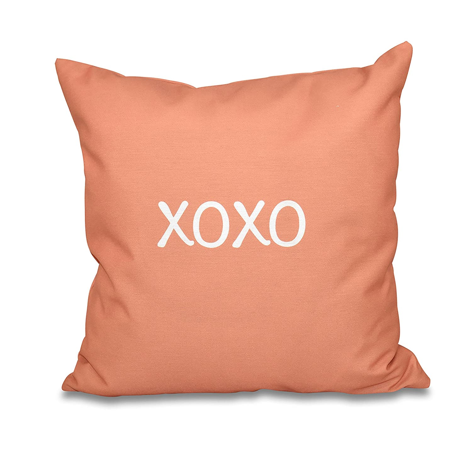 E by design PWN511OR10-18 18 x 18-inch Coral 18x18 Orange//Red Word Print Pillow XOXO