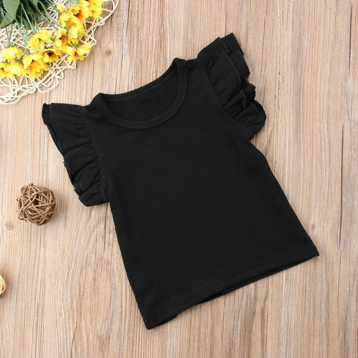 artbiti 6 Styles Toddler Baby Girls Tee Basic Plain Ruffle Short Sleeve T-Shirt Top Blouse Clothes