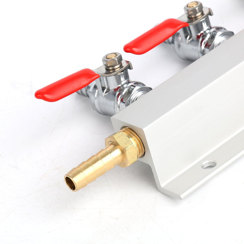 Splitter 1//4 Barb Fittings Air Distributor CO2 Manifold Beer Gas Distributor YaeBrew Gas Manifold 4 Way