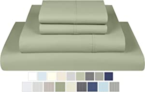 Threadmill Home Linen 600 Thread Count 100% Cotton Sheet Set, Sage Cotton Full Size Sheets, Luxury Bedding, 4 Piece Set, Cotton Bed Sheets, Solid Sateen Fits Mattress Up to 18'' Deep Pocket