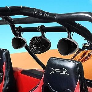 "GoHawk TN4-SX 2.1-Channel Amplifier 5"" Subwoofer 4.5"" Full Range Waterproof Bluetooth ATV RZR UTV Stereo 3 Speakers Audio Amp Radio System 1.5 to 2"" Roll-cage Bar Mount Yamaha Polaris 4 Wheeler Can-Am"