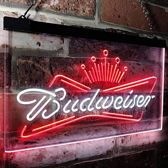 Amazon.com: zusme Budweiser King Beer Bar - Cartel de neón ...
