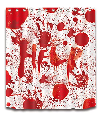 LB Halloween Decorative Bloody Decor Shower Curtain Polyester Fabric 3D Digital Printing 60x72 Mildew Resistant Waterproof