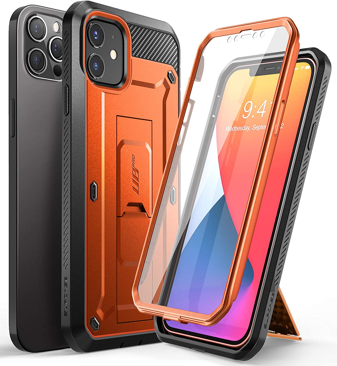 SupCase Unicorn Beetle Pro Series Case for iPhone 12 / iPhone 12 Pro (2020 Release) 6.1 Inch, Built-in Screen Protector Full-Body Rugged Holster Case (Orange)