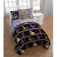 Five Nights at Freddy's 5Pc Bedding Set, Twin, Bed in a Bag with BONUS TOTE!, Party at Freddy's With Freddy Fazbear, Bonnie, Foxy, and Chica Kid's Bedding - Fitted Sheet, Flat Sheet, Pillow Case, Reversible Comforter & Tote