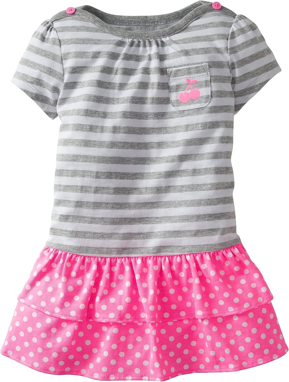 Carters 2-piece Short Sleeve Gray /& Pink Stripes /& Dots Dress Set