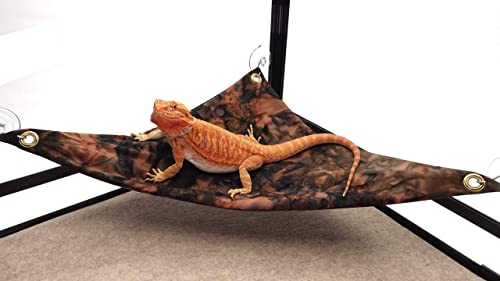 Hammock for Bearded Dragons, Brown Maroon Batik Fabric with Suction Cup Hooks