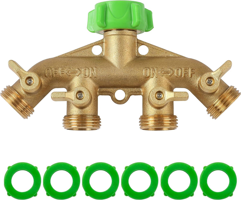 YANWOO 4 Way Brass Hose Splitter, Heavy Duty 3/4