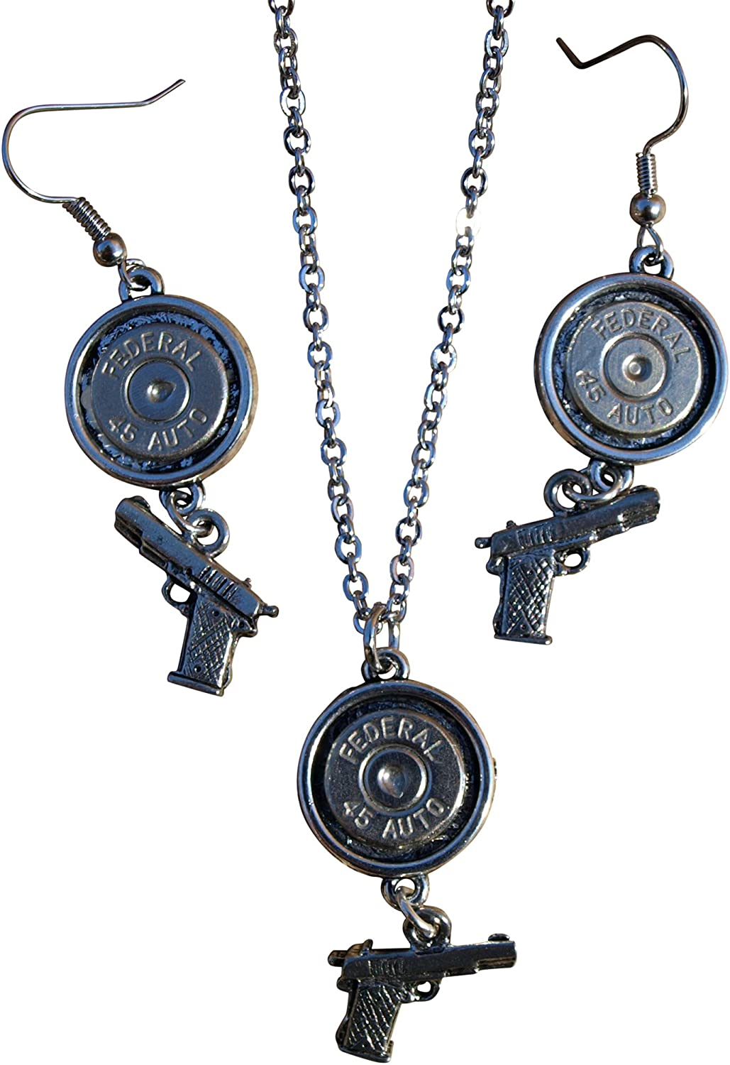 Available with or Without Crystals Fashion Bullet Necklace /& Earrings W Nickel 45s /& Handgun Charms