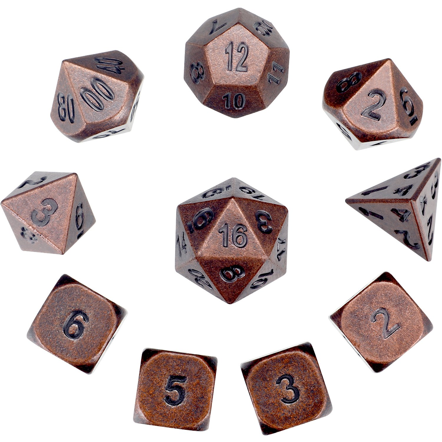 Hestya 10 Pieces Metal Dices Set DND Game Polyhedral Solid D&D Dice Set with Storage Bag and Zinc Alloy with Printed Numbers for Role Playing Game Dungeons and Dragons, Math Teaching (Red Copper)