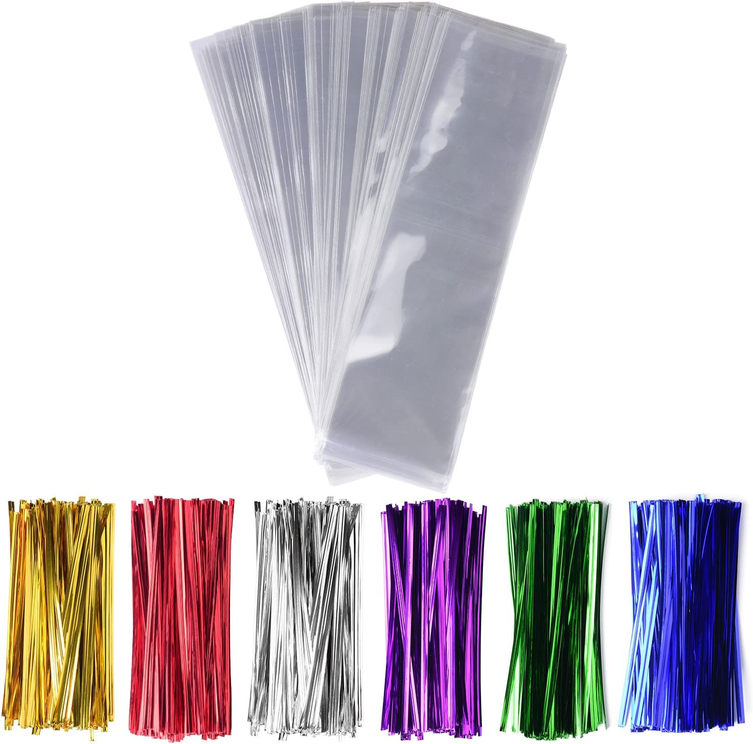 uxcell 200pcs 100mm x 1mm White Plastic Packaging Wire Twist Ties for Party Cello Candy Bags