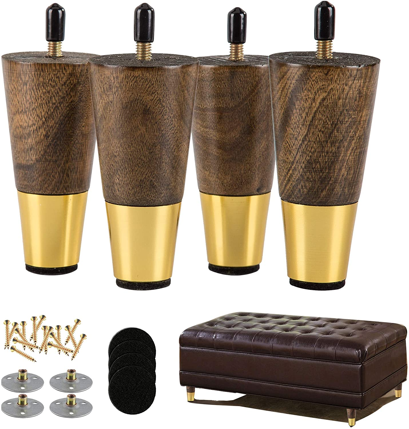 ALAMHI Wood Furniture Leg Sofa Legs 4 Inch Brown Round Tapered Mid-Century Modern Feet with Brass Base Replacement 5/16 inch Bolt for Cabinets,Coffee Table,Ottoman,TV Stand,Loveseat,Armchair Set of 4