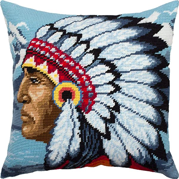 Native American Printed Tapestry Canvas Throw Pillow 16/×16 Inches Needlepoint Kit European Quality