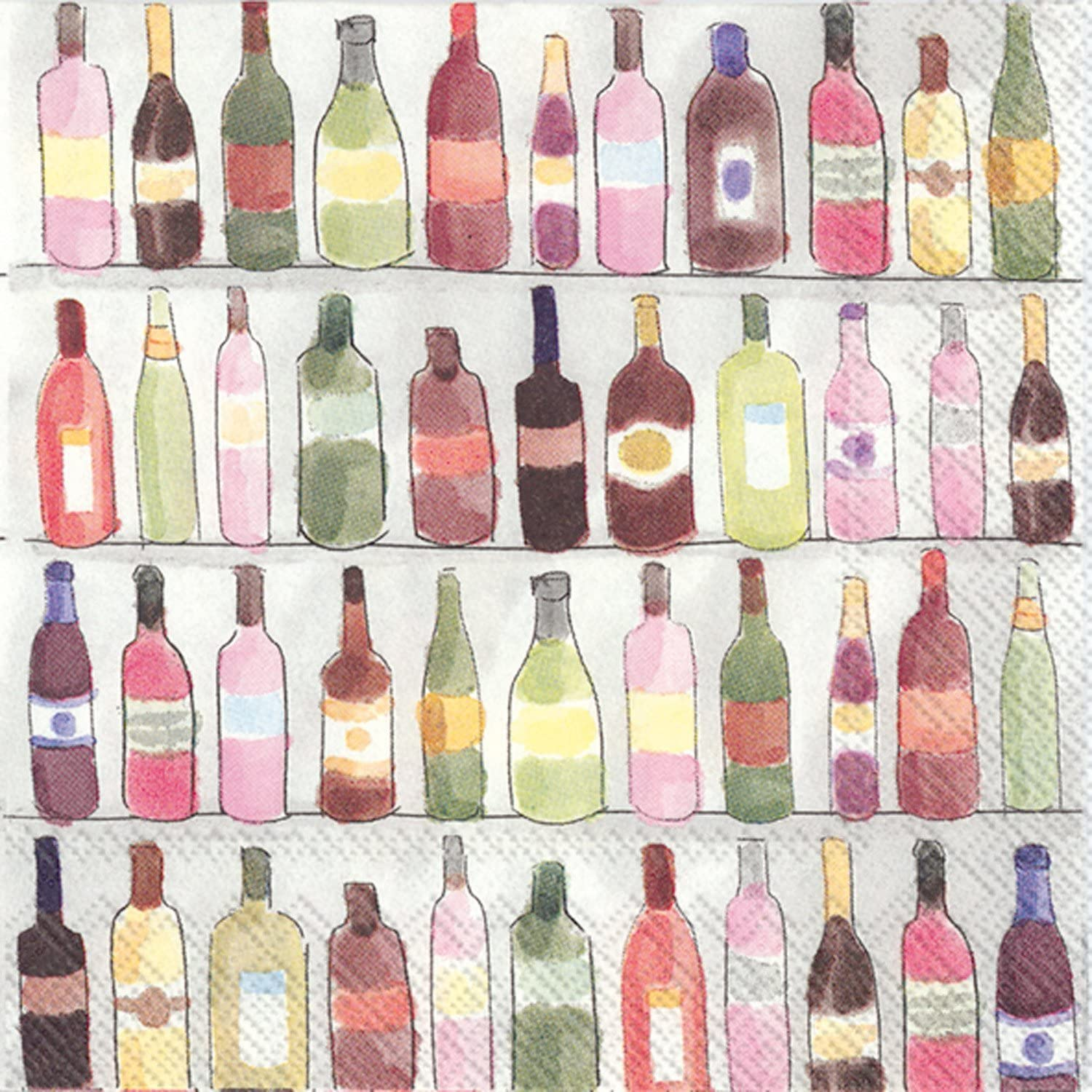 Celebrate the Home Watercolor 3-Ply Paper Cocktail Napkins, Wine Shelves, 20 Count