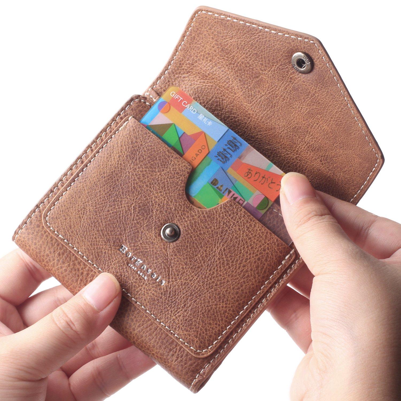 Borgasets Women's RFID Blocking Small Compact Bifold Leather Pocket Wallet Ladies Mini Purse (Vintage-Brown)