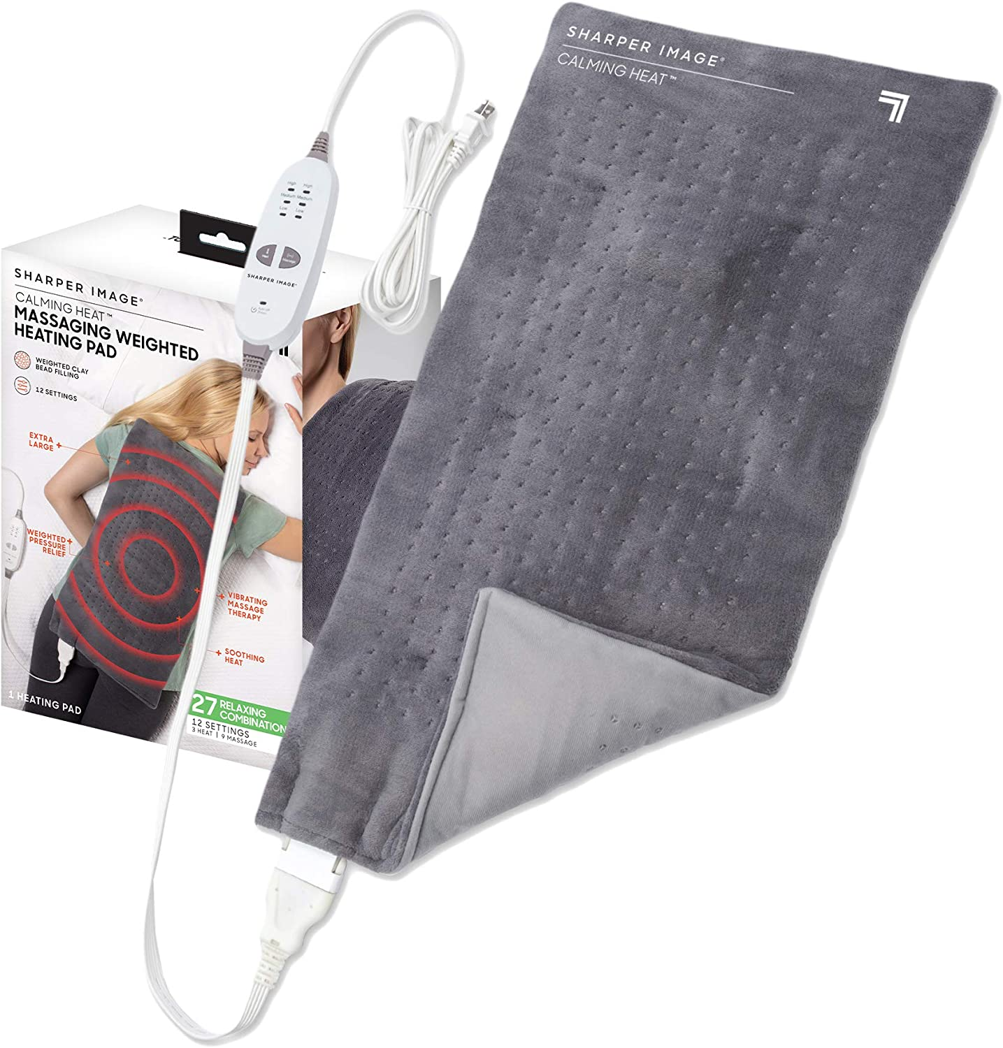 "Calming Heat Massaging Weighted Heating Pad by Shaper Image- Electric Heating Pad with Massaging Vibrations, Auto-Off,12 Settings- 3 Heat, 9 Massage- 27 Relaxing Combinations, 12"" x 24"", 4 lbs: Health & Personal Care"