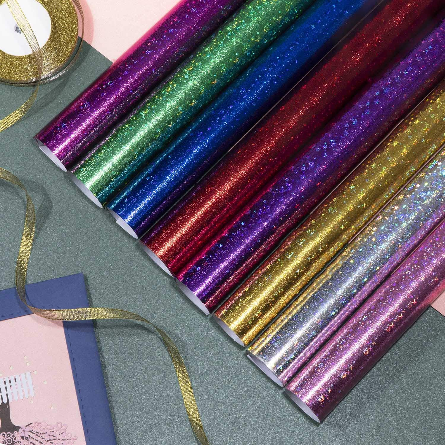 Valentines Day Kids Girls Boys Birthday Wrapping Paper for Birthday 8 Sheets Colorful Stars Wrapping Paper with 2 roll Organza Ribbon Christmas Gift Wrap Jolintek Gift Wrapping Paper Sheets