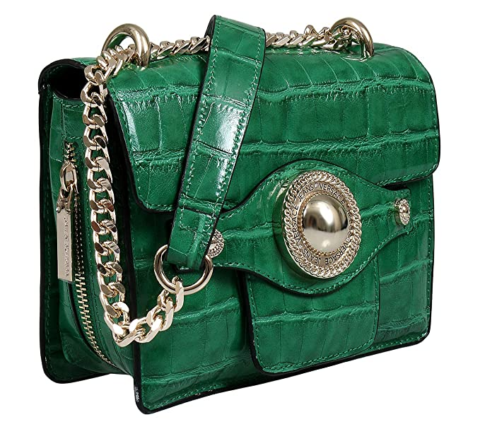 65b6a47f5842 Amazon.com  Versace EE1VSBBO4 E126 Green Shoulder Bag for Womens ...