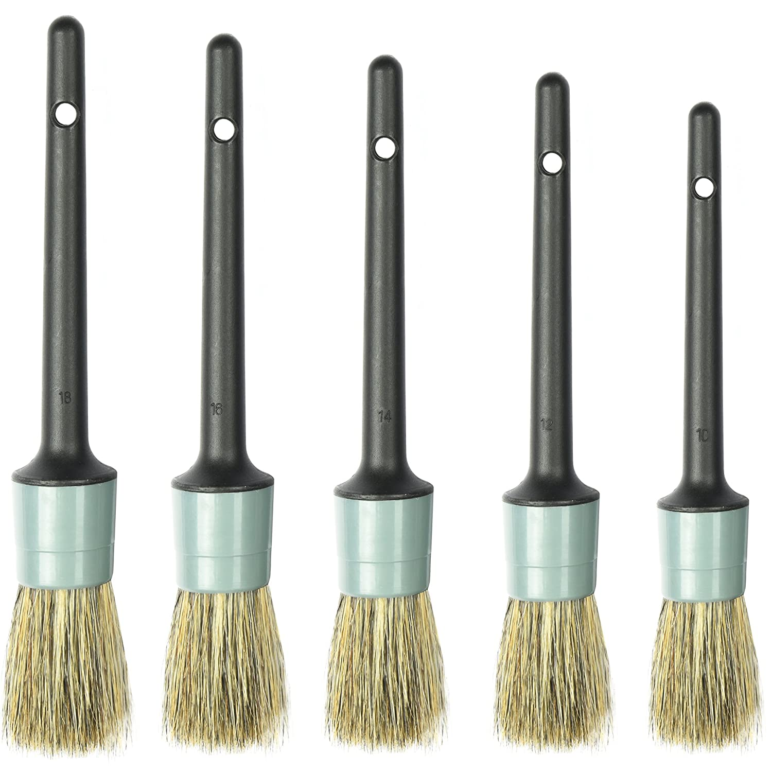 Master Detailing Brush Set - 5 Different Sizes - Free Microfiber Towel - Premium Natural Boar Hair - Plastic Handle - No Shed Bristles - For Cleaning Engine, Wheel, Interior, Air Vent, Car, Motorcycle TAKAVU