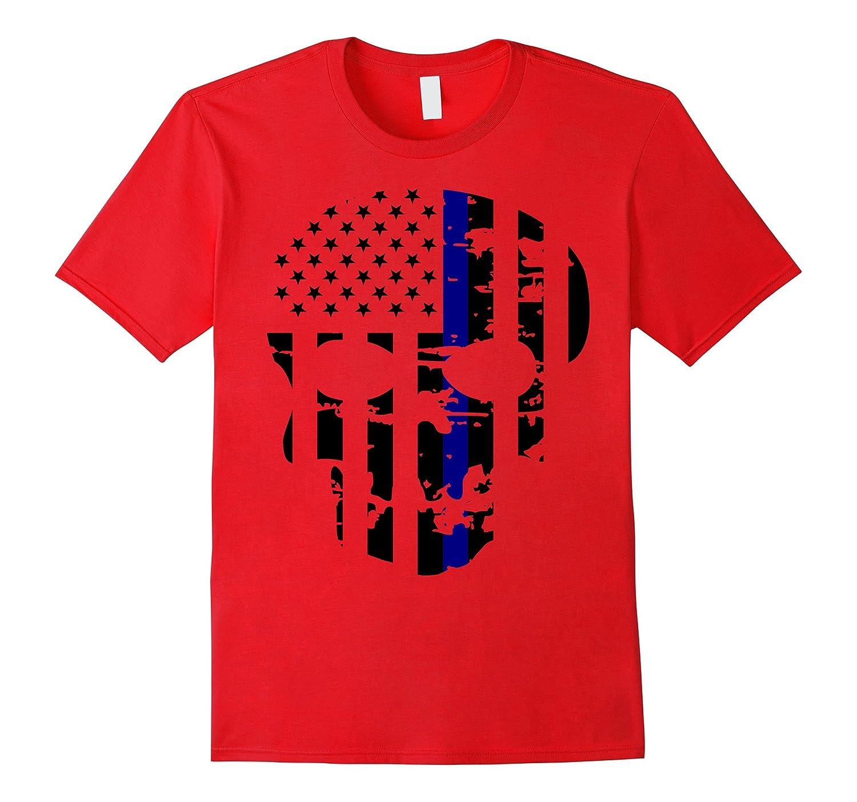 Police Blue Line Skull Support Clothing Apparel T-shirt-Art