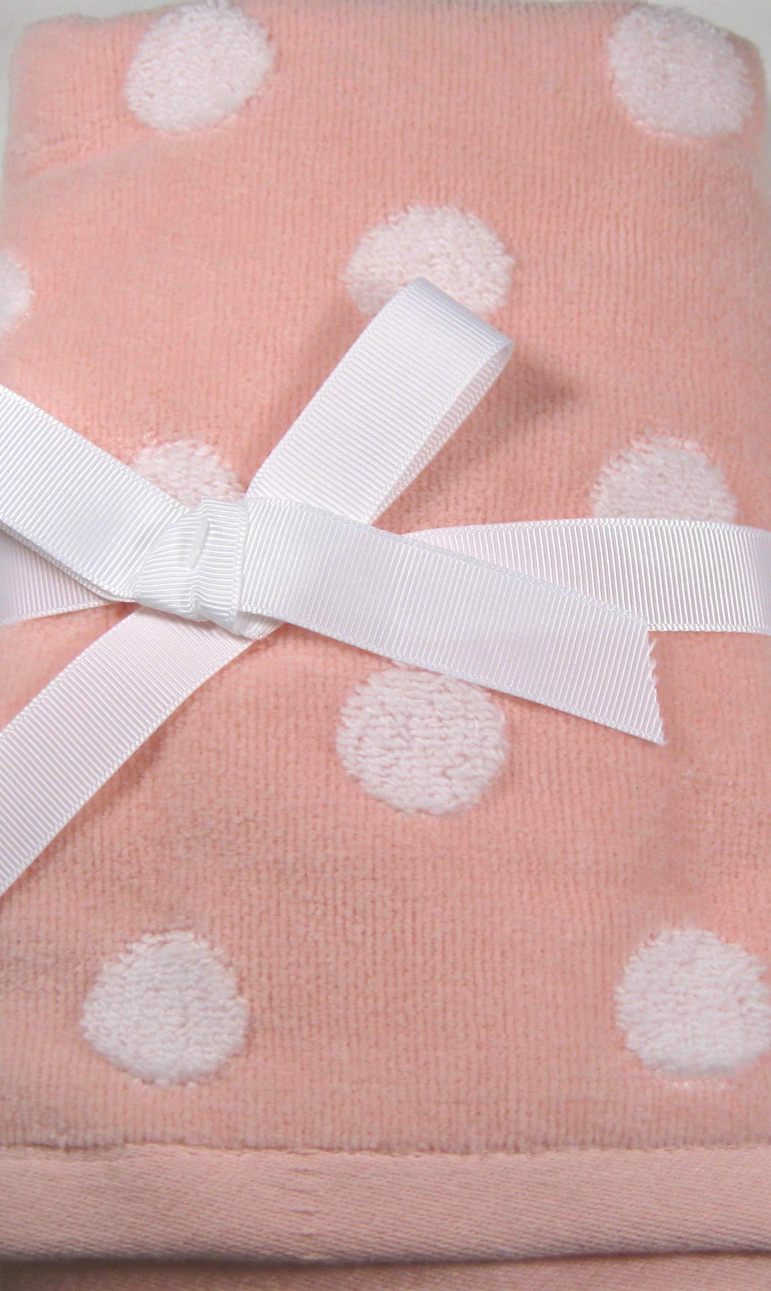 Plush, Decorative Polka Dot Finger Tip Towel Set Light Coral and White 100% Cotton