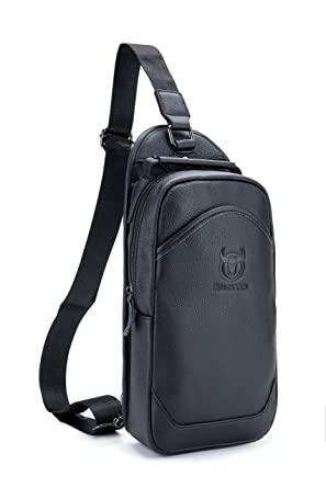 4b20b24923 Image Unavailable. Image not available for. Color  Men`s Sling-Bag-Genuine- Leather-Chest-Shoulder-Backpack