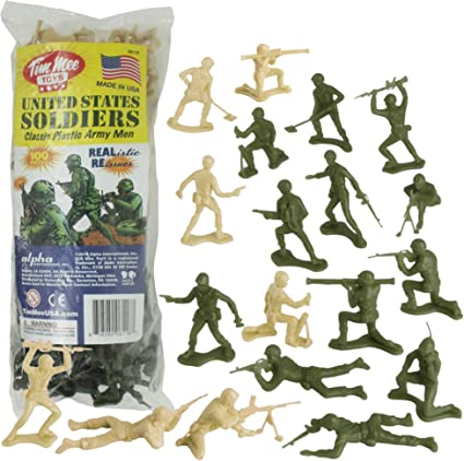 100Pcs Army Men Toy Soldiers Military Gray Green Plastic Figurine Action Figure