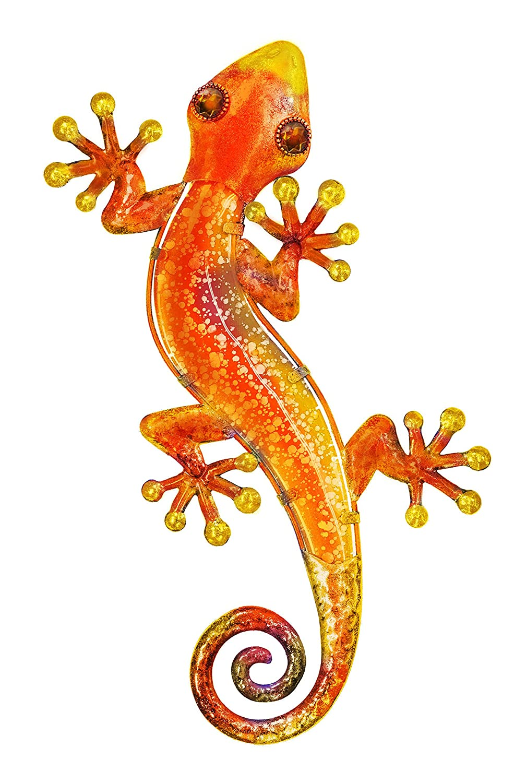 Fountasia arancione 38 cm in vetro e metallo Wall Art Gecko/Lizard